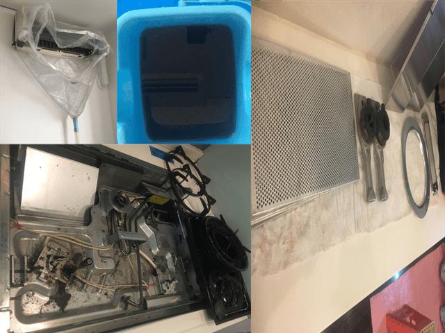 エアコンクリーニング、換気扇ガスコンロのおそうじ画像