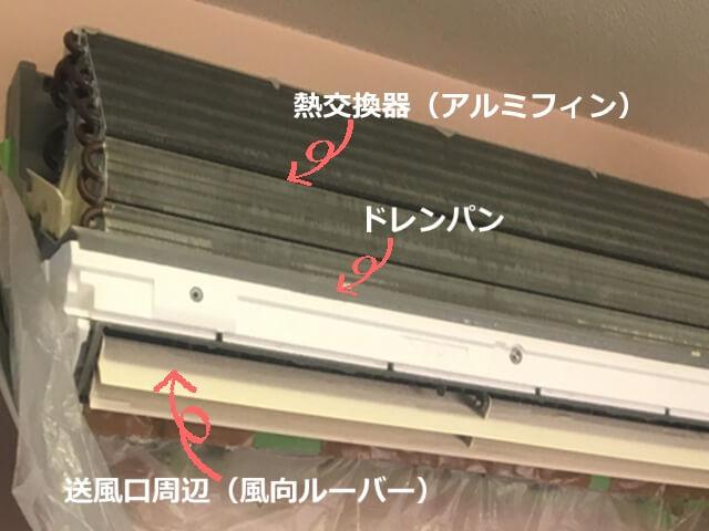 エアコン分解洗浄部分別汚れ方