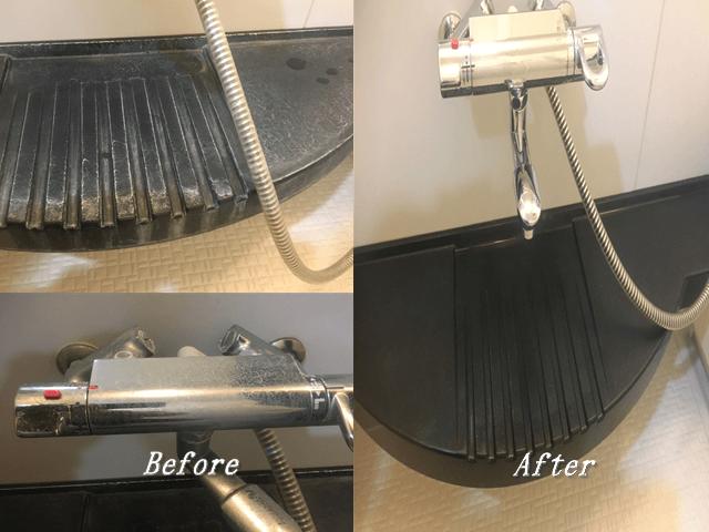 浴室の蛇口と受け皿の水垢